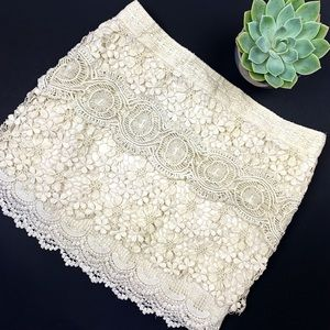 Free People Off White Vintage Crochet Mini Skirt